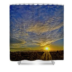 Shower Curtain featuring the digital art Southwest Sunset Op40 by Mark Myhaver