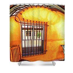 Southwestern Porch Distortion With Puple Floor Shower Curtain