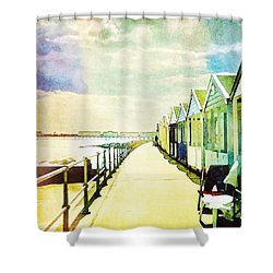 Shower Curtain featuring the photograph Southwold Beach Huts by Anne Kotan