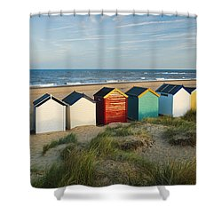 Southwold Beach Huts Shower Curtain
