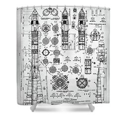 Soviet Rocket Schematics Shower Curtain by Taylan Apukovska