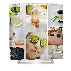 Spa Massage Facial Collage Shower Curtain