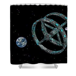 Shower Curtain featuring the photograph Space Base by Mark Blauhoefer