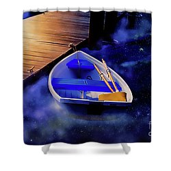 Space Boat Shower Curtain