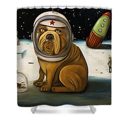 Space Crash Shower Curtain by Leah Saulnier The Painting Maniac