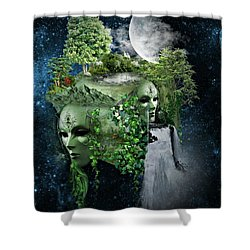 Space Cube Shower Curtain