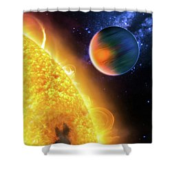 Shower Curtain featuring the photograph Space Image Extrasolar Planet Yellow Orange Blue by Matthias Hauser