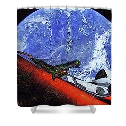 Space Meeting At Tesla Shower Curtain