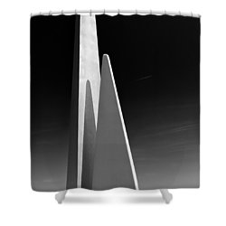 Space Port Shower Curtain by Dave Bowman