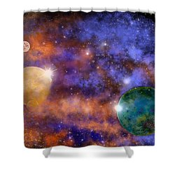 Space Practice Shower Curtain