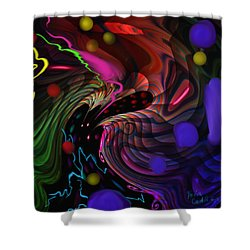 Shower Curtain featuring the painting Space Rocks by Kevin Caudill