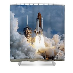 Shower Curtain featuring the photograph Space Shuttle Launching by Stocktrek Images