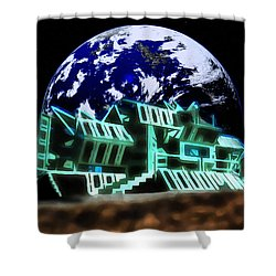 Shower Curtain featuring the painting Space Station Omega by Mario Carini