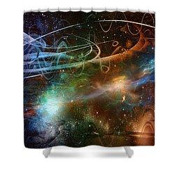 Shower Curtain featuring the digital art Space Time Continuum by Linda Sannuti