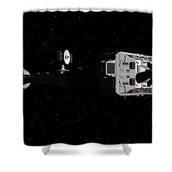 Spaceship Uss Cumberland Traveling Through Deep Space Shower Curtain by David Robinson