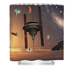 Spaceships Used By Different Alien Shower Curtain by Mark Stevenson