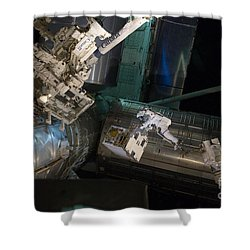 Spacewalk On Iss Shower Curtain by NASA/Science Source