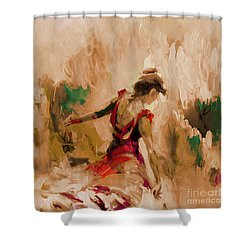 Shower Curtain featuring the painting Spanish Dance Culture  by Gull G