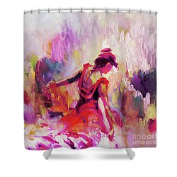 Shower Curtain featuring the painting Spanish Female Art 0087 by Gull G