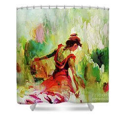 Shower Curtain featuring the painting Spanish Female Art 56y by Gull G