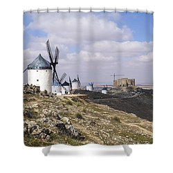 Spanish Windmills And Castle Of Consuegra Shower Curtain by Perry Van Munster