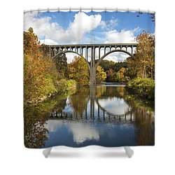Shower Curtain featuring the photograph Spanning The Cuyahoga River by Dale Kincaid