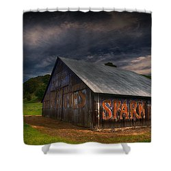 Spark Stoves Barn Shower Curtain