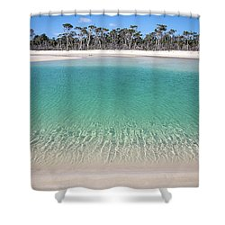 Sparkling Beach Lagoon On Deserted Beach Shower Curtain
