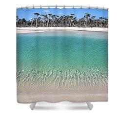 Sparkling Beach Lagoon On Deserted Beach Shower Curtain