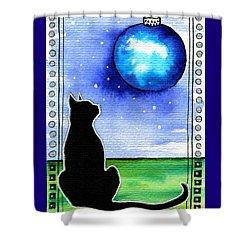 Sparkling Blue Bauble - Christmas Cat Shower Curtain
