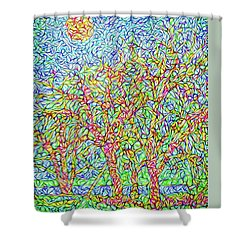 Shower Curtain featuring the digital art Sparkling Lakeside Trees - Park In Boulder County Colorado by Joel Bruce Wallach