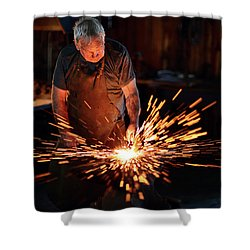 Sparks When Blacksmith Hit Hot Iron Shower Curtain