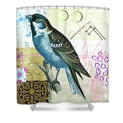 Shower Curtain featuring the mixed media Sparrow by Elena Nosyreva