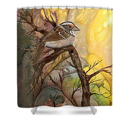 Shower Curtain featuring the painting Sparrow by Sherry Shipley