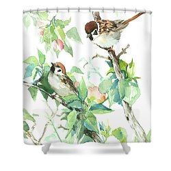 Sparrows And Apple Blossom Shower Curtain by Suren Nersisyan
