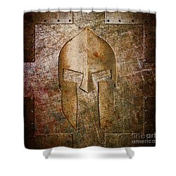 Spartan Helmet On Metal Sheet With Copper Hue Shower Curtain