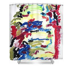 Shower Curtain featuring the painting Spatial Outwardness by Esther Newman-Cohen