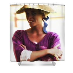 Shower Curtain featuring the photograph Speaking With Her Eyes  ... by Chuck Caramella