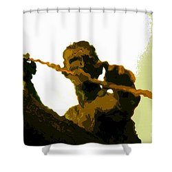 Spearfishing Man Shower Curtain by David Lee Thompson