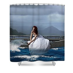 Shower Curtain featuring the mixed media Special Connection by Marvin Blaine