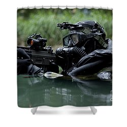 Special Forces Combat Diver Takes Shower Curtain by Tom Weber