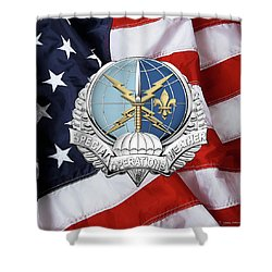 Special Operations Weather Team -  S O W T  Badge Over American Flag Shower Curtain by Serge Averbukh