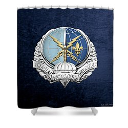 Special Operations Weather Team -  S O W T  Badge Over Blue Velvet Shower Curtain by Serge Averbukh