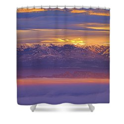 Spectacular Surnise Of The La Sal Mountains From Dead Horse Point State Park Shower Curtain