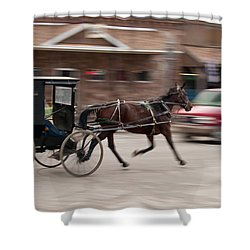 Speeding 3271 Shower Curtain by Guy Whiteley
