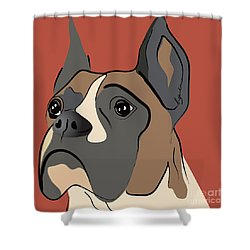 Spencer Boxer Dog Portrait Shower Curtain