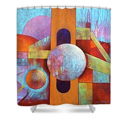 Spheres And Beams Shower Curtain by J W Kelly