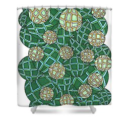 Spheres Cluster Green Shower Curtain