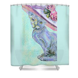 Sphinx In Pink Hat Shower Curtain by Jane Schnetlage