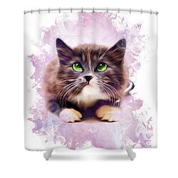 Spice Kitty Shower Curtain by Kathy Kelly